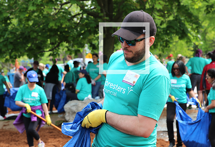 Man volunteering at playground build