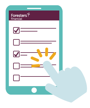 Graphic design showing a rough screenshot of the Foresters Financial online Junior ISA application pages