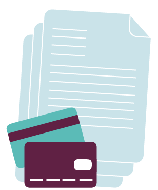 Graphic design showing bank cards and direct debit forms showing what a person will need to sign up to a Junior ISA
