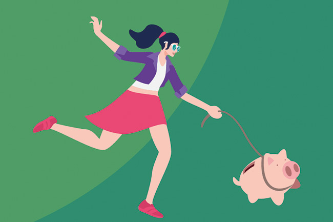 Schroders MoneyLens graphic of a female millennial with piggy bank on a lead