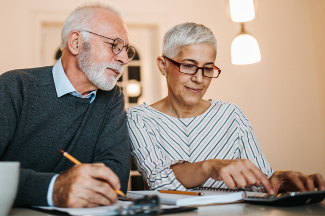 Older couple working out Plan value