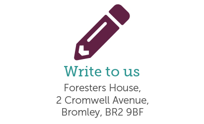 Write to us icon showing the postal address of Foresters office in Bromley.
